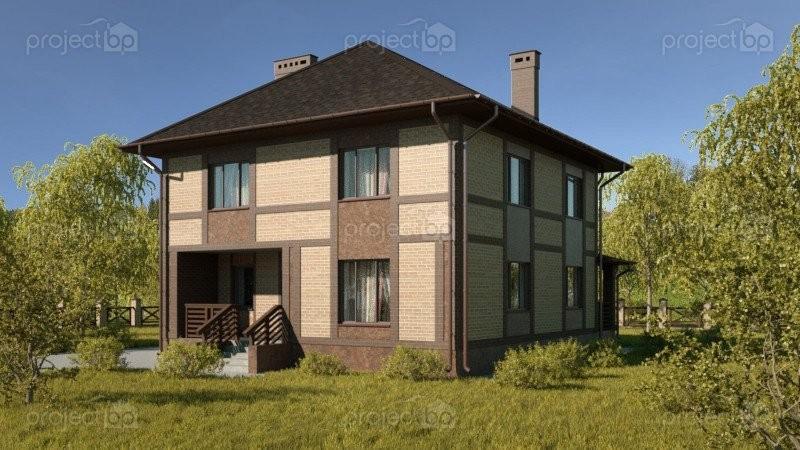 Проект двухэтажного дома с четырехскатной крышей 157-C